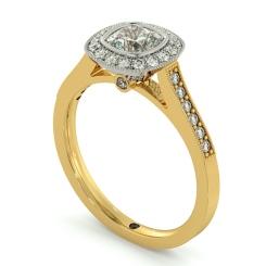 HRCSD707 Legacy style Milgrain Cushion cut Halo Diamond Ring - yellow