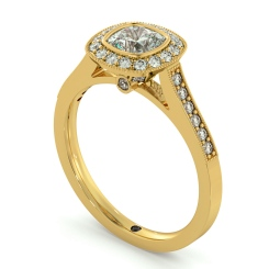 HRCSD707 Legacy style Milgrain Cushion cut Halo Diamond Ring - yellow