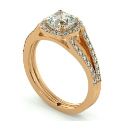 HRCSD708 Split Double Band Cushion cut Halo Diamond Ring - rose
