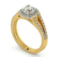 HRCSD708 Split Double Band Cushion cut Halo Diamond Ring - yellow