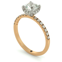 HRCSD709 Studded Prongs Cushion cut Halo Diamond Ring - rose