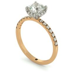 HRCSD709 Studded Prongs Cushion cut Halo Diamond Ring - rose