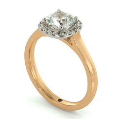HRCSD710 Classic Cushion cut Halo Diamond Ring - rose