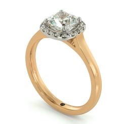 HRCSD710 Classic Cushion cut Halo Diamond Ring - rose