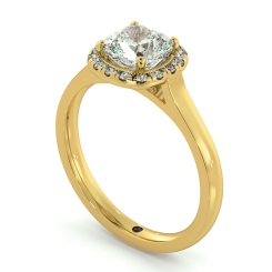 HRCSD710 Classic Cushion cut Halo Diamond Ring - yellow