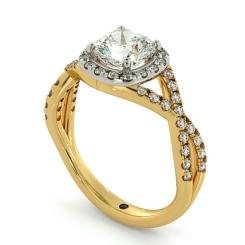 HRCSD711 Crossover Swirls Cushion cut Halo Diamond Ring - yellow