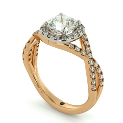 HRCSD711 Crossover Swirls Cushion cut Halo Diamond Ring - rose