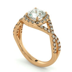 HRCSD711 Crossover Swirls Cushion cut Halo Diamond Ring - rose