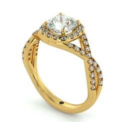 HRCSD711 Crossover Swirls Cushion cut Halo Diamond Ring - yellow