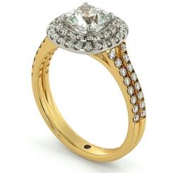 HRCSD712 Double Split Band Cushion cut Halo Diamond Ring - yellow
