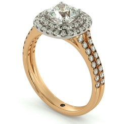 HRCSD712 Double Split Band Cushion cut Halo Diamond Ring - rose