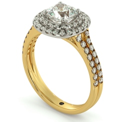 HRCSD712 Double Split Band Cushion cut Halo Diamond Ring - yellow