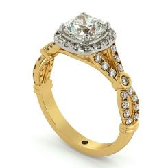 HRCSD713 Designer Cushion cut Halo Diamond Ring - yellow