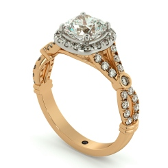 HRCSD713 Designer Cushion cut Halo Diamond Ring - rose