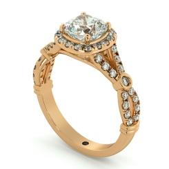 HRCSD713 Designer Cushion cut Halo Diamond Ring - rose
