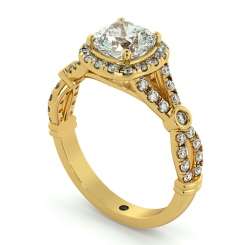 HRCSD713 Designer Cushion cut Halo Diamond Ring - yellow