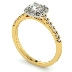 HRCSD739 Cushion Halo Cushion cut Diamond Engagement Ring - yellow