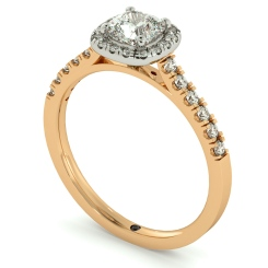 HRCSD739 Cushion Halo Cushion cut Diamond Engagement Ring - rose