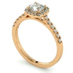 HRCSD739 Cushion Halo Cushion cut Diamond Engagement Ring - rose