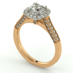 HRCSD742 Studded Designer Cushion cut Halo Diamond Engagement Ring - rose