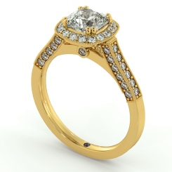 HRCSD742 Studded Designer Cushion cut Halo Diamond Engagement Ring - yellow
