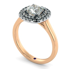 HRCSD852 Cushion Halo Diamond Ring - rose