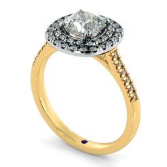 HRCSD853 Cushion Halo Diamond Ring - yellow
