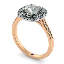 HRCSD853 Cushion Halo Diamond Ring - rose