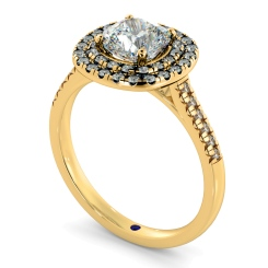 HRCSD853 Cushion Halo Diamond Ring - yellow