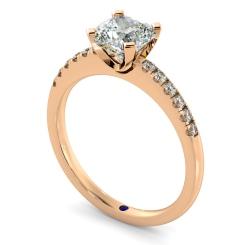 HRCSD880 Cushion Shoulder Diamond Ring - rose