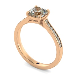HRCSD882 Cushion Shoulder Diamond Ring - rose