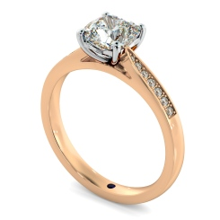 HRCSD883 Cushion Shoulder Diamond Ring - rose