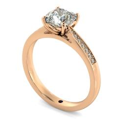 HRCSD883 Cushion Shoulder Diamond Ring - rose