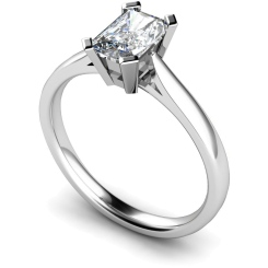 HRE274 Emerald Solitaire Diamond Ring - white