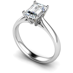 HRE282 Emerald Solitaire Diamond Ring - white