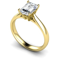 HRE282 Emerald Solitaire Diamond Ring - yellow