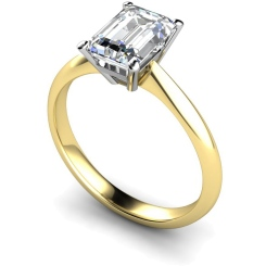 HRE284 Emerald Solitaire Diamond Ring - yellow