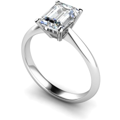 HRE284 Emerald Solitaire Diamond Ring - white