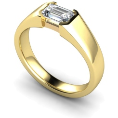 HRE300 Semi Rubover Setting Emerald cut Solitaire Diamond Ring - yellow