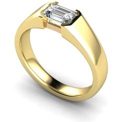 HRE300 Semi Rubover Setting Emerald cut Solitaire Diamond Ring - yellow
