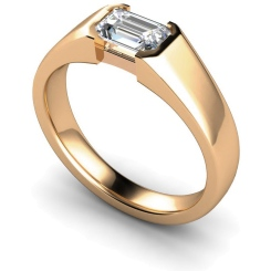 HRE300 Semi Rubover Setting Emerald cut Solitaire Diamond Ring - rose