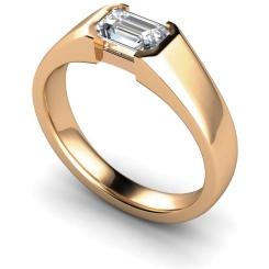 HRE300 Semi Rubover Setting Emerald cut Solitaire Diamond Ring - rose