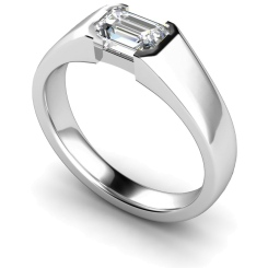 HRE300 Semi Rubover Setting Emerald cut Solitaire Diamond Ring - white