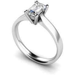 HRE318 Emerald Solitaire Diamond Ring - white