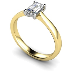HRE335 Emerald Solitaire Diamond Ring - yellow