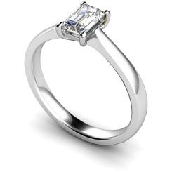 HRE335 Emerald Solitaire Diamond Ring - white