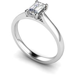 HRE336 Emerald Solitaire Diamond Ring - white