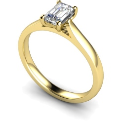 HRE336 Emerald Solitaire Diamond Ring - yellow