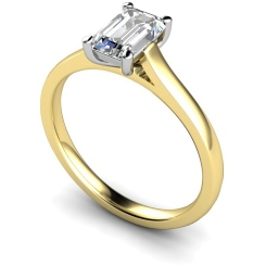 HRE393 Emerald Solitaire Diamond Ring - yellow