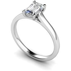 HRE393 Emerald Solitaire Diamond Ring - white